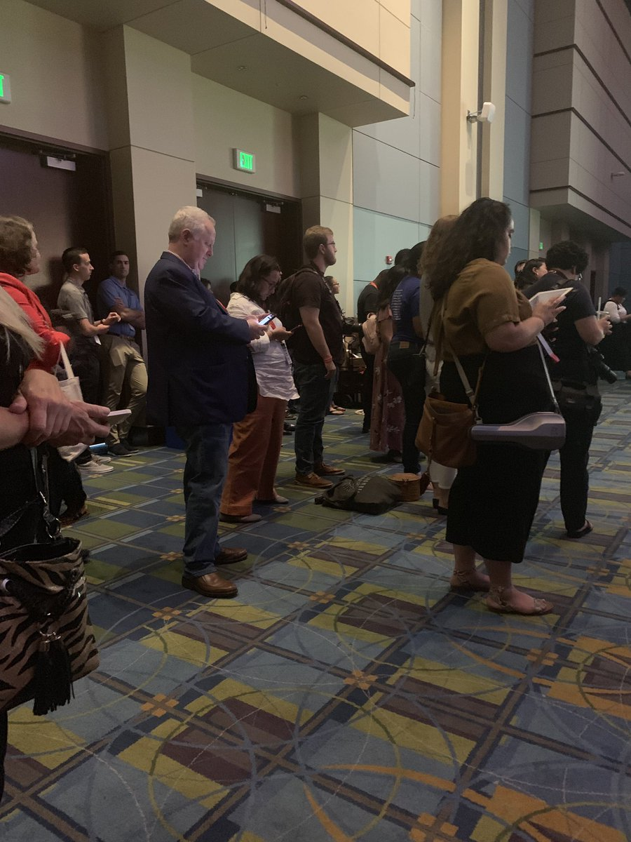 """The technical director at #NN19 told me to move out of the aisle while listening to the presidential forum because it's a """"fire aisle"""" but meanwhile the aisle is crowded with tons of people standing & blocking exits. I guess my wheelchair is the only fire hazard here?"""