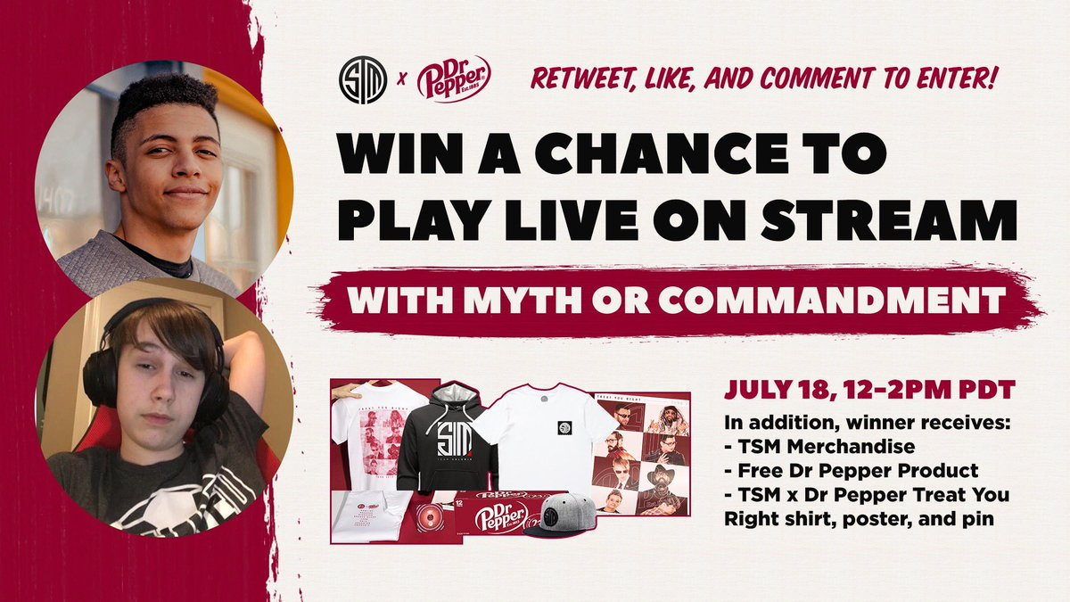 I'ma be picking one fan to compete with me against @TSM_Commandment and his fan, like, retweet, and comment to enter! Winner will be drawn in 24 hours! @drpepper is providing some NUTTY prizes.