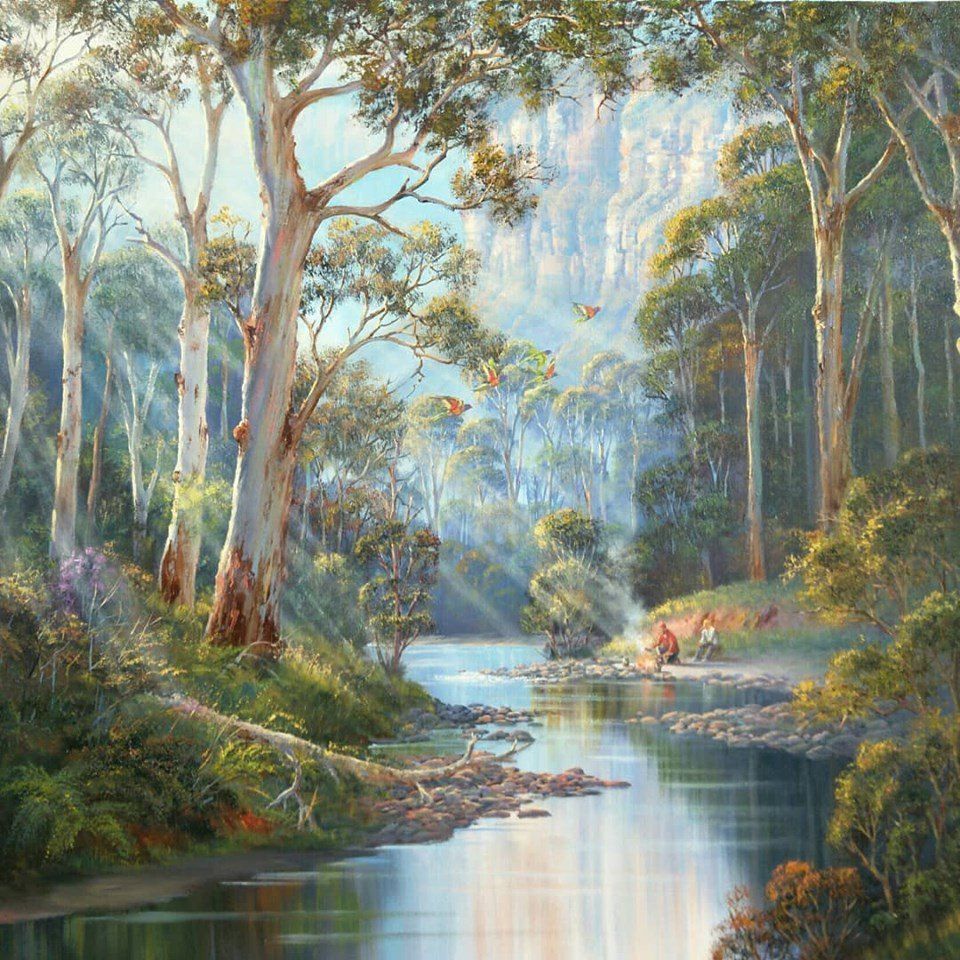 Morning Mist in Blue Gum Tree ~ Oil, #Artist John Bradley.  Fine #art tips and how to paint picturesque landscapes with John Bradley on Colour In Your Life!   https://www. youtube.com/watch?v=8-DFd8 CCDTM   …  #ArtLovers<br>http://pic.twitter.com/uDEEitDxtB