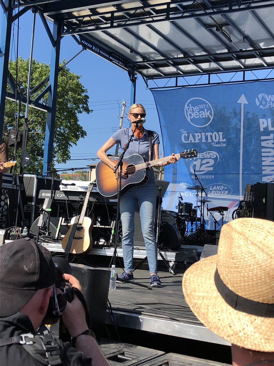 """Saw the wonderful @aimeemann at the main stage @PvilleMusicFest. She and her band were awesome. She didn't do """"Voices Carry"""" but that didn't stop me from having a wonderful time. She's still has that beautiful voice."""