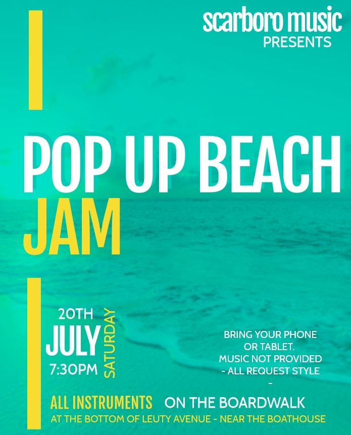 POP UP BEACH JAM - Saturday July 20th 7:30pm Join us on the boardwalk by the Leuty Boathouse! All instruments - come out and jam the night away. Bring your family, friends and furbabies and enjoy a night of music. #wearemusic #popbeachjam #beachjam #jamonthebeach<br>http://pic.twitter.com/kgxGQdUEhV