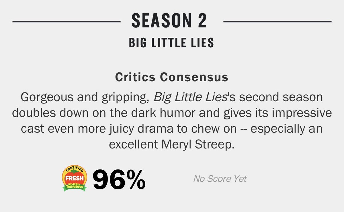 for all the people saying #BigLittleLies season 2 isn't good as a result of the andrea arnold mess, it still has amazing reviews...