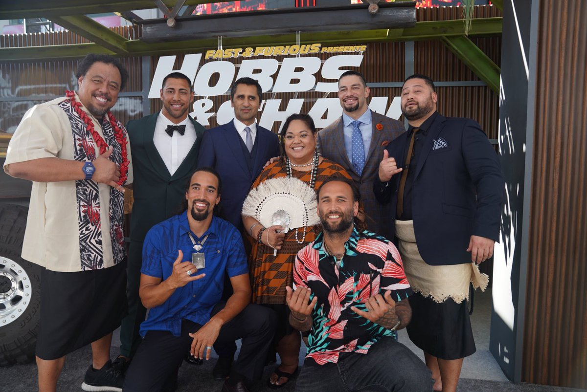 It's all about family at the workd premiere of @HobbsAndShaw! @WWERomanReigns @TheRock