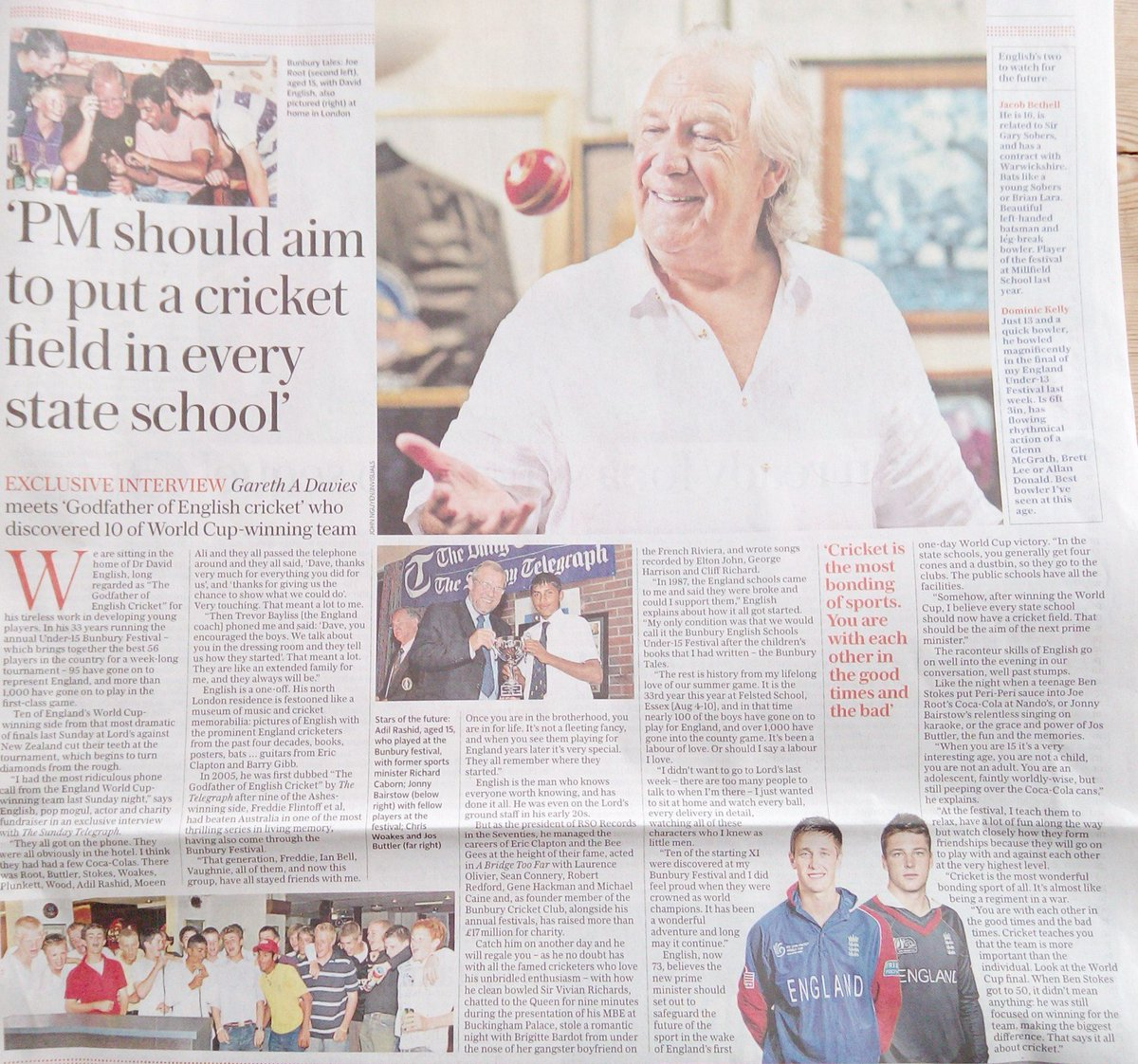 Please grab a copy of the Daily Telegraph today Magnificent feature/ interview with Bunbury founder Dr David English CBE, talking the Origins of Bunbury, this years festival and last weeks miracle world cup win @GarethADaviesDT @telecricket @Telegraph @englandcricket