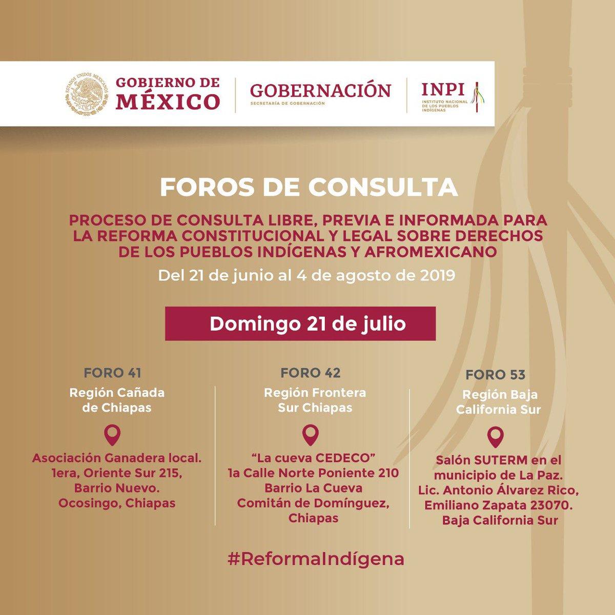 #NoLoOLvides 📣  Participa en el proceso de consulta para construir la #ReformaIndígena, hoy en Chiapas y Baja California Sur.  ¡Por un México Pluricultural, Justo e Incluyente!   Busca tu sede aquí: 👇🏽👇🏽🔎