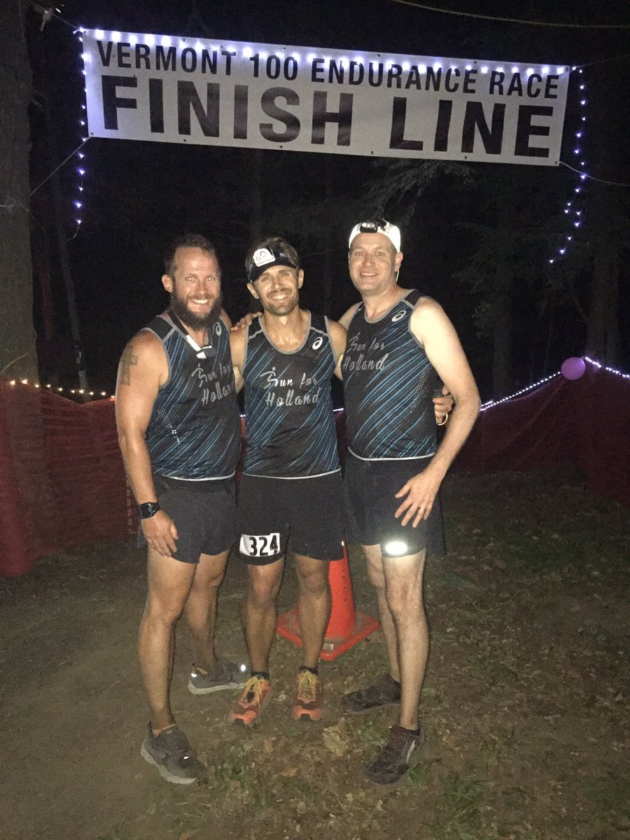 @f3lkn #bb Super proud of @mortimer_f3 for completing the #Vermont100 !  100 mile Ultra Marathon in record heat!  @runforholland5k represented on the International stage...    Thanks Team Run Holland and @Primetime_F3 for crewing and pacing....