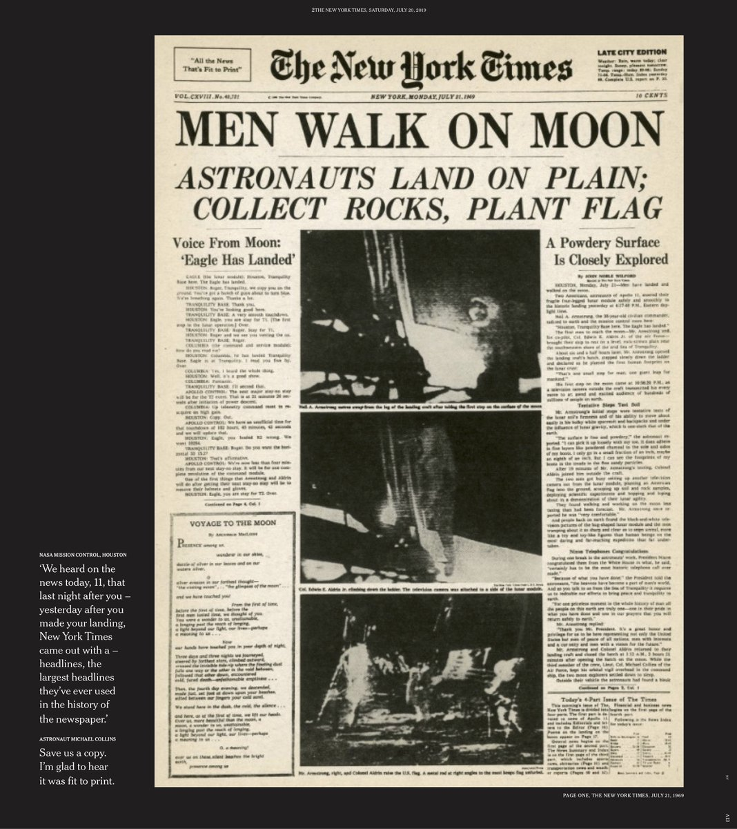 """Here's what the front page of The New York Times looked like 50 years ago today, the morning after the Apollo 11 moon landing. The headline """"Men Walk on Moon"""" was set in some of the largest type ever used in The Times.  Read the story behind the story: https://nyti.ms/32GwDYX"""