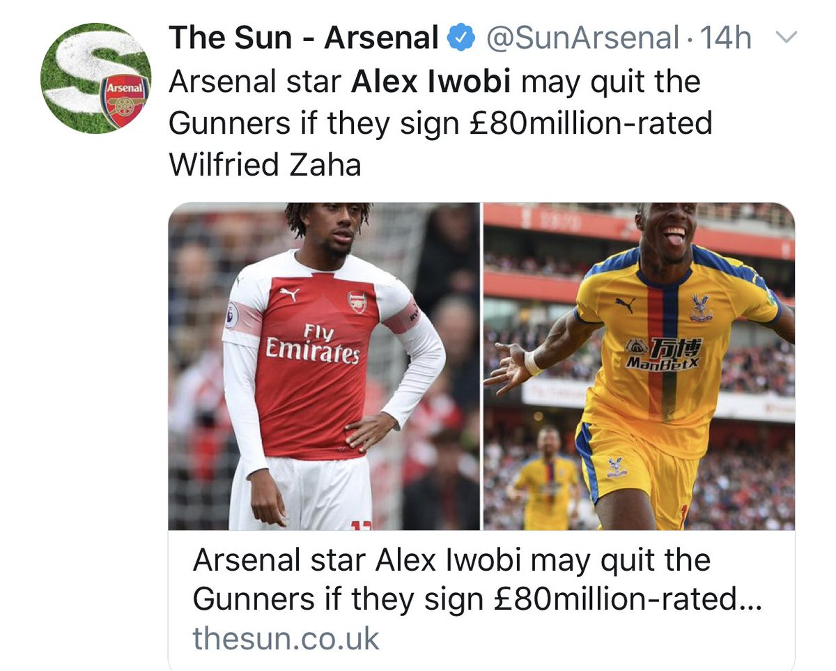 Fake News & Click Bait! I Don't know Why Some Newspapers Enjoy Twisting Words 🤷🏽♂️🙄. I Hope We Sign World Class Players @Arsenal And Progress As A Team 🙏🏽. I'm Looking Forward To The New Season. Happy Sunday 😊.