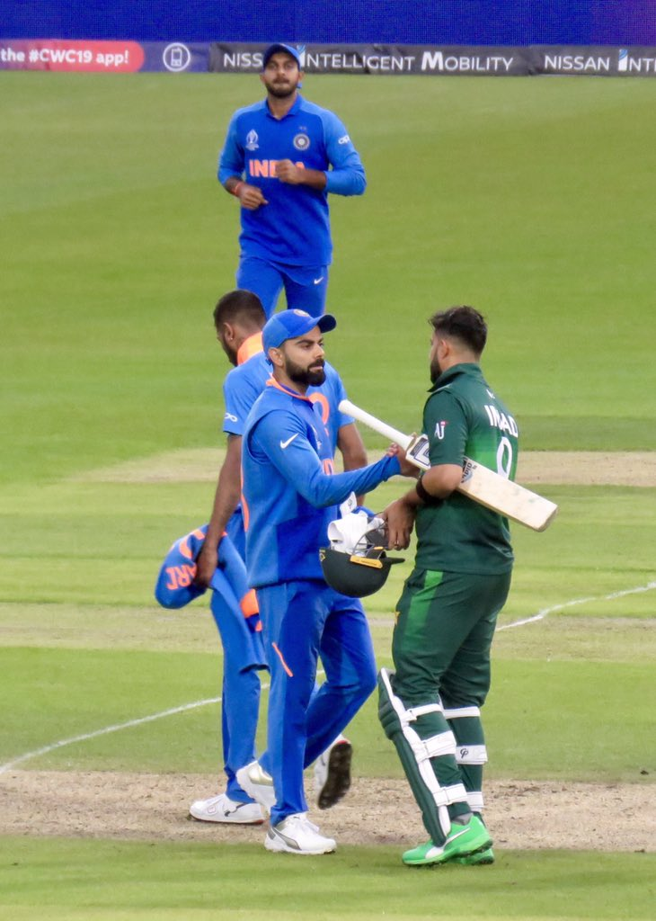 And here's another, your captain showing the true Spirit of Cricket, feel free to use. #nopoliticsincricket #indvpak #cwc19 #ViratKohli