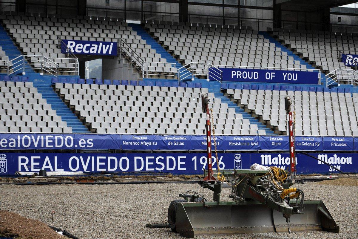 Obras en el césped del Tartiere (Foto: RO).