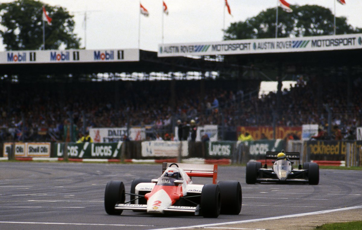 #OnThisDay Alain Prost won the 1985 #BritishGP behind the wheel of the iconic McLaren MP4/2B.   'The Prof' lapped the entire field on his way to victory. 🏁🏆