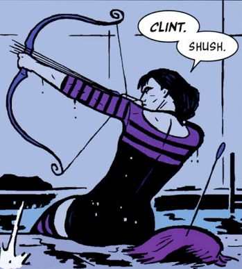 kate bishop is literally capable of accurately shooting four arrows at once between her fingers WITHOUT the help of clint barton there is no way the mcu's gonna convince me that THAT clint can train kate to do SHIT <br>http://pic.twitter.com/9FVeLftQEQ