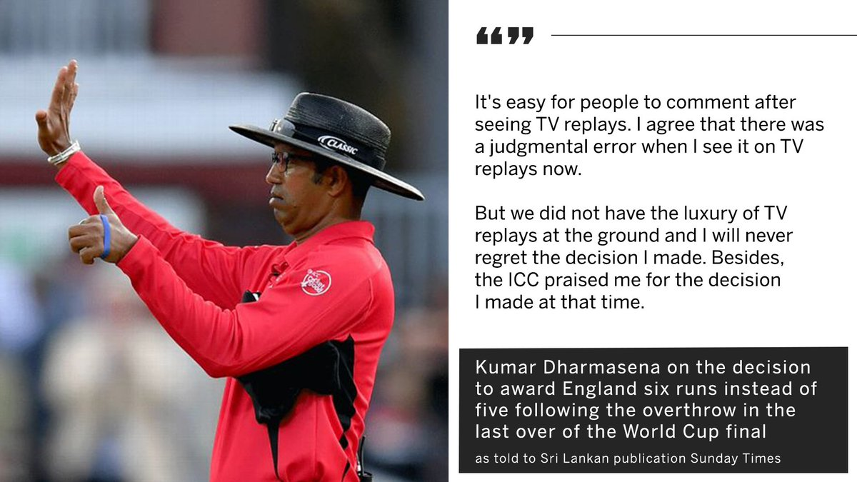 "Umpire Kumar Dharmasena admits World Cup final error, but ""will never regret the decision I made""  #CWC19 https://es.pn/2JGxdyD"