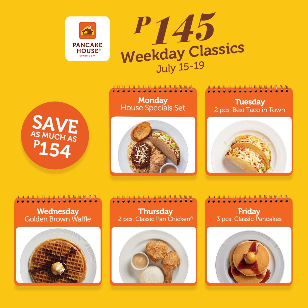 Mark your calendars for this week-long treat! #ChooseToFeelGood and save big with our 145 Weekday Classics! Enjoy daily discounts on our best-selling dishes. https://t.co/XaJNlrq0Ex