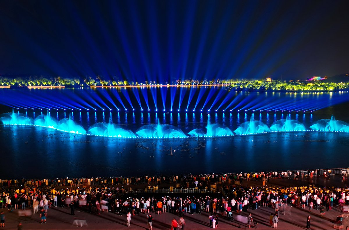 Instant magic and perfect way to end the hot summer days - Vibrantly combining movement and music with every color of the visible spectrum, water and light shows on Nanhu Lake in Tangshan, north China's Hebei are fantastic experiences for spectators of every age #FlyOverChina