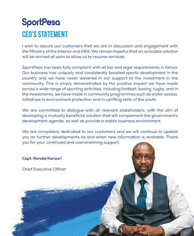 CEO's Official Statement   We are committed to our customers and we are working tirelessly to ensure our services are restored. We will continue to update you as information becomes available.   #SportPesa #MakeItCount