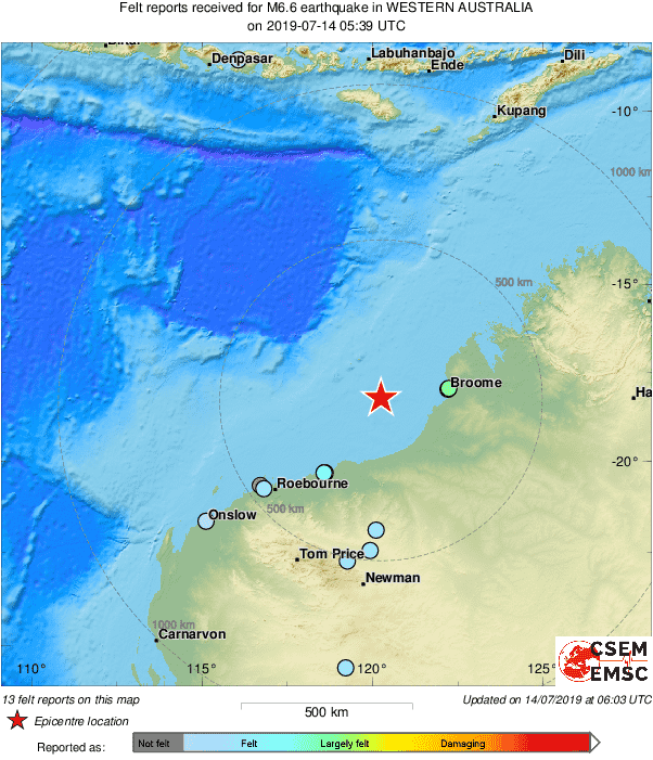 Magnitude 6.9 Earthquake Strikes West of Broome in Western Australia - USGS