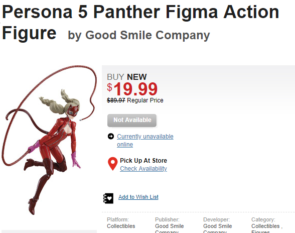 Persona 5 Panther Figma Action Figure is $19 99 at GameStop