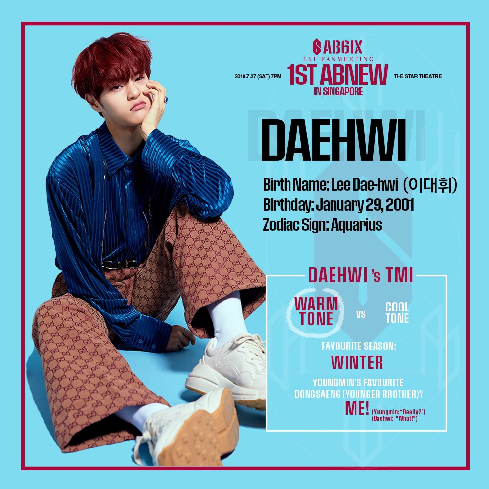 """‼️[#AB6IX TRIVIA] DID YOU KNOW: Daehwi's TMI time! 1. Warm Tone! 2. Favourite season: Winter 3. Youngmin's favourite Dongsaeng : Me! (Youngmin: """"Really? ㅋㅋㅋ"""") Our favourite Maknae will always be adorable Daehwi! D-13 🎫 : apactix.com/events/detail/… 🚨 : bit.ly/AB6IXlightstick"""