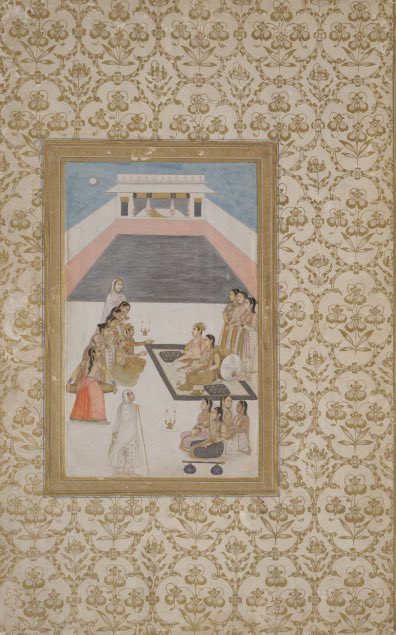 A royal couple listening to music folio from a dispersed album, Mughal, early 18th century, 2918. #Mughal #moonlight #moon #music #museumchd #painting #indianart #arthistory #history