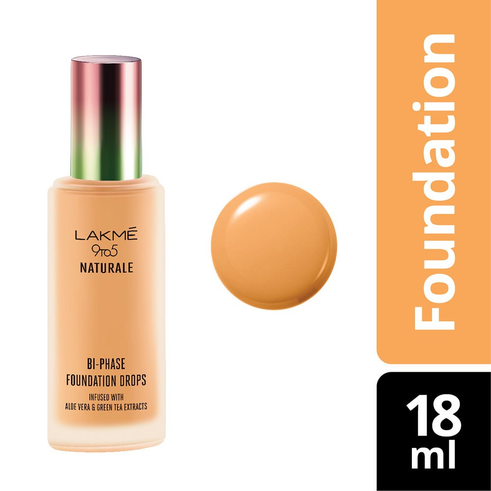 Lakme 9 to 5 Naturale Foundation Drops, Silky Golden, 18 ml
