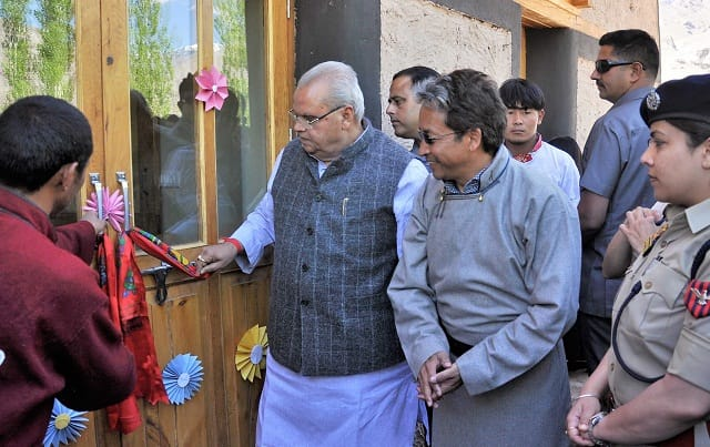 THE JK GOVERNOR INAUGURATED OUR PASSIVE SOLAR HOSTEL   This mud-built solar-heated boys hostel is expected to stay warm at +18 °C in -18 Ladakhi winters without any fuel, emission or pollution.  We hope it sets a trend for other buildings in the Himalayas..#makeinindia #Ladakh<br>http://pic.twitter.com/2JEbaysBCH