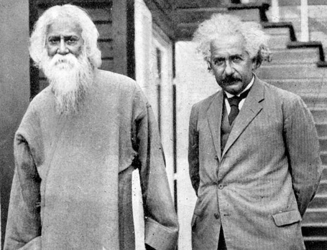 Albert Einstein met fellow Nobel Laureate Rabindranath Tagore at his home in Berlin #OTD in 1930. The two distinguished minds explored the concepts of science, religion, consciousness, and philosophy.  Read an excerpt from their conversation: https://bit.ly/2JprgmD