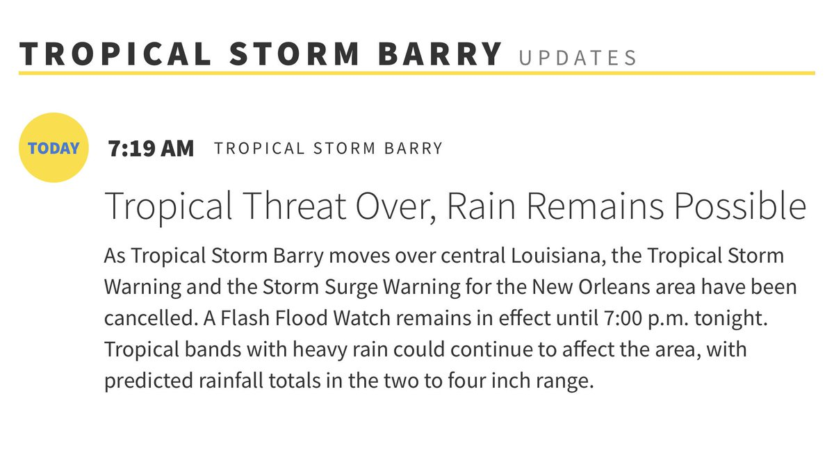 Tropical Storm & Storm Surge Warnings cancelled for #NOLA. Flash Flood Watch in effect until 7pm. Rain possible today. #NOLAReady #Barry