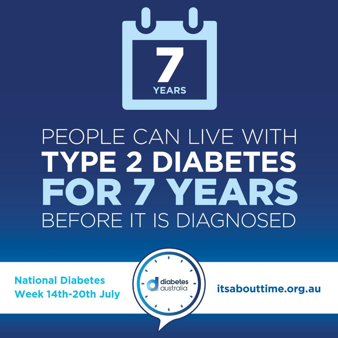 #ItsAboutTime for National Diabetes Week!  @DiabetesAus are highlighting the importance of early detection & treatment. This is such vital work, as 1.7 million Aussies have Diabetes, both diagnosed and undiagnosed.  See http://bit.ly/2JwG45K for more info. #DiabetesWeek