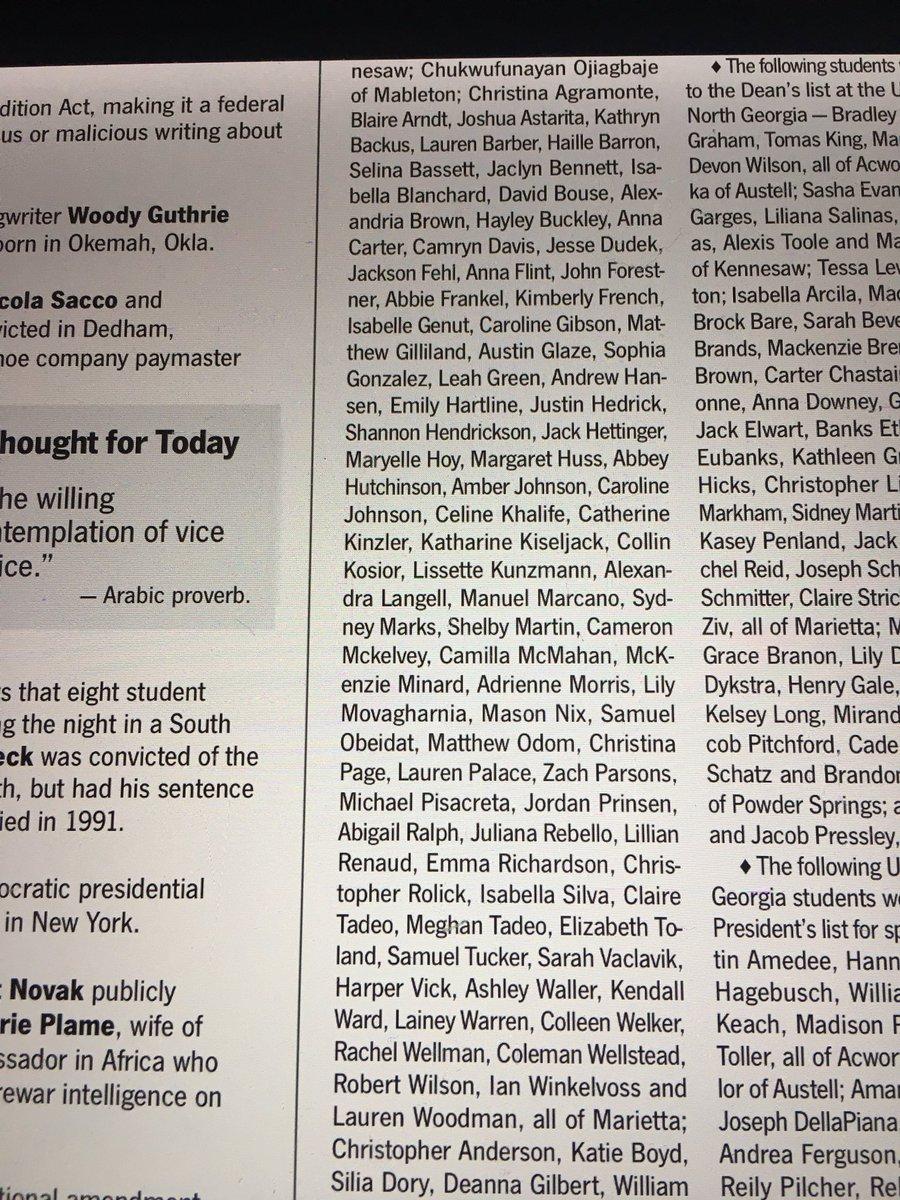 So many familiar names on this Georgia College Dean List!  #proudtobeawaltonraider #oncearaideralwaysaraider