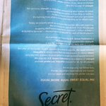 Image for the Tweet beginning: Full page ad from @SecretDeodorant