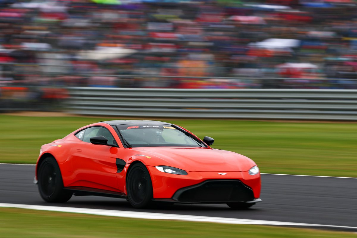 Kicking-off today's track action on #BritishGP race day.   Vantage is racing around the @SilverstoneUK circuit for #F1PirelliHotLaps.  #BritishGP #F1007 #LICENCETOTHRILL