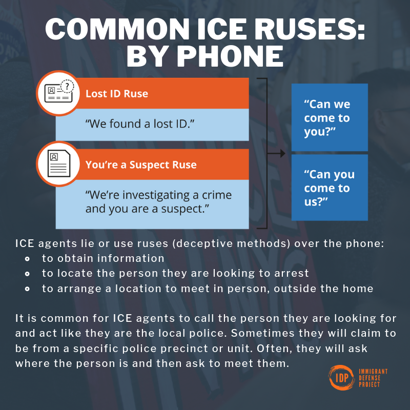 Its extremely common for ICE agents to lie about who they are and what they want. Check out these latest infographics to learn more about common ICE ruses in-person & over the phone. Available below in English and Spanish! #KnowYourRights