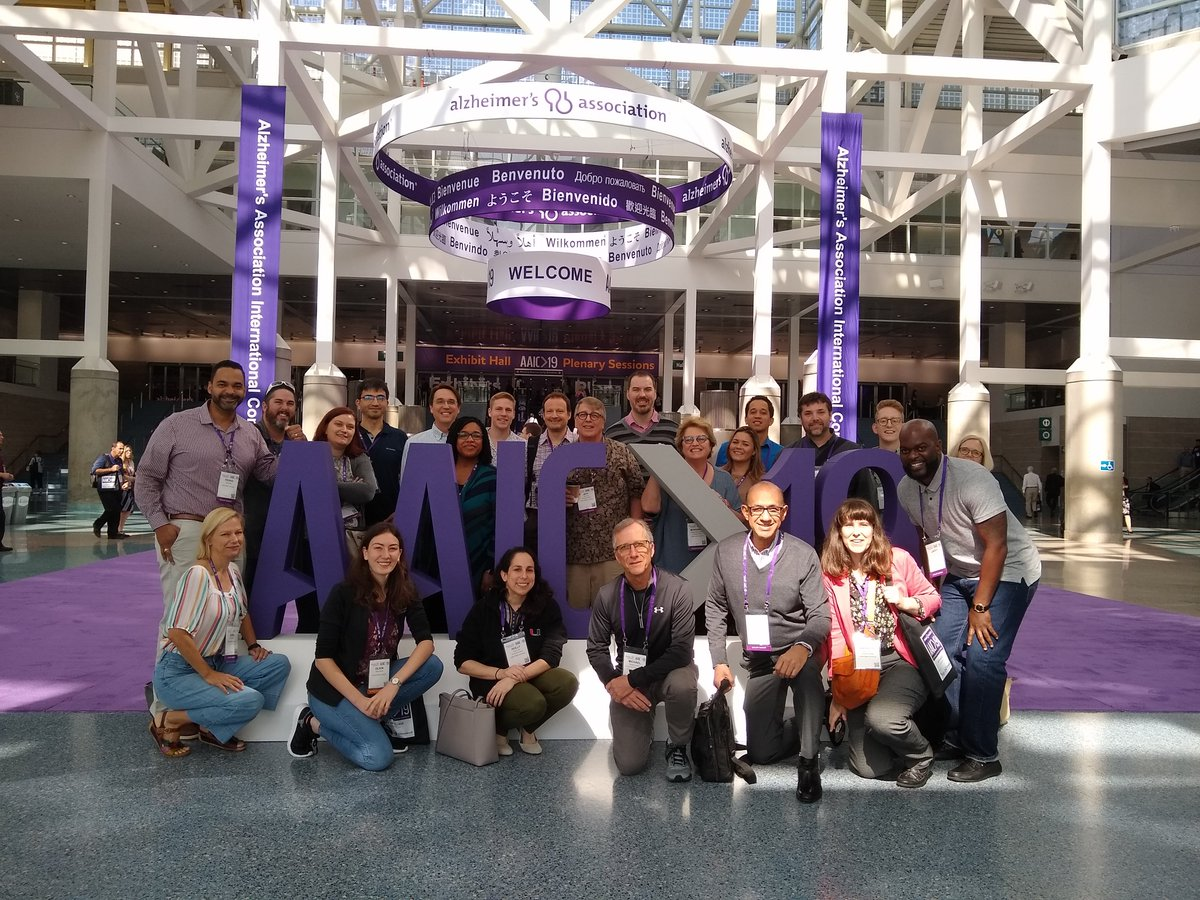 "Grabbed a quick photo of our #Alzheimers team before heading off to check out the ""Basic and Translational Science"" posters on #genetics at #AAIC19<br>http://pic.twitter.com/5YyG9MRmGA"