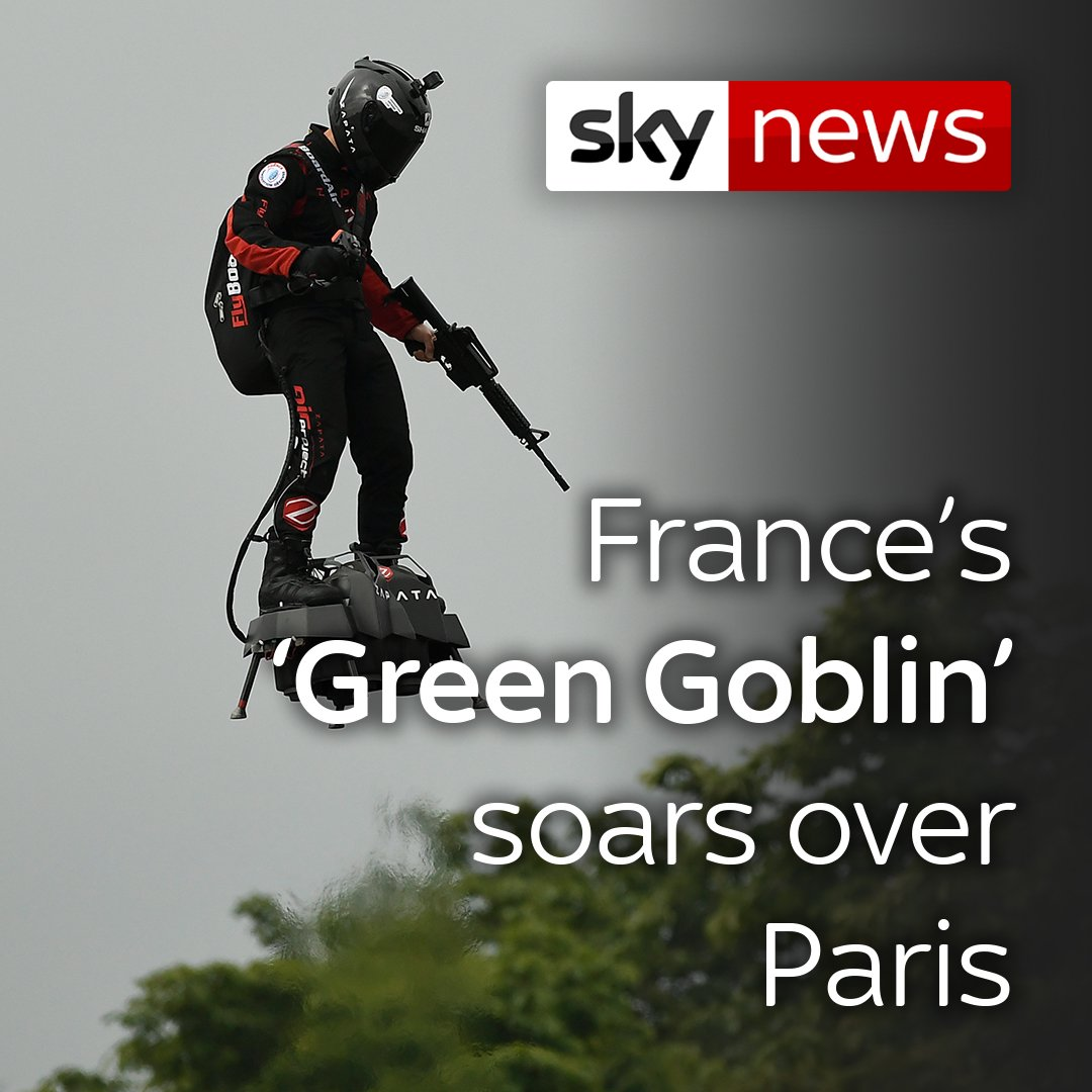 Is this Frances version of the Green Goblin? 👀 Inventor Franky Zapata soared above the Champs-Elysees on a flyboard as part of the Bastille Day parade in a demonstration of military technology. More on this story here: po.st/fDOUmh