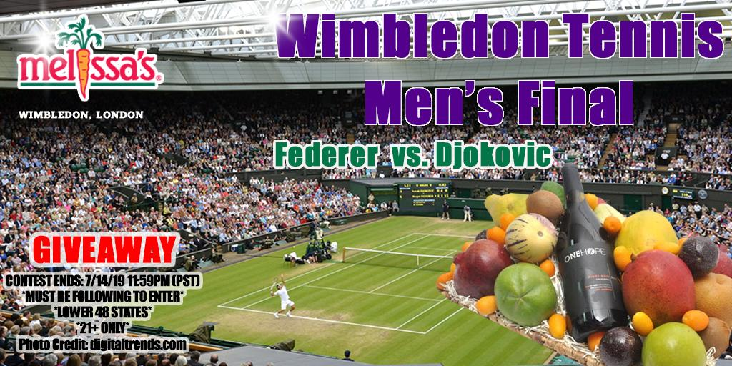 GIVEAWAYThe best men players of #Wimbledon are left to duel out the Men's Final! Who's your pick to win #FedererDjokovic? Enter to win this championship gift box!   Enter here  Follow @MelissasProduce   Retweet and tag your friends!  #JoinTheStory #TheQueue @Wimbledon<br>http://pic.twitter.com/9itCm4p5w8