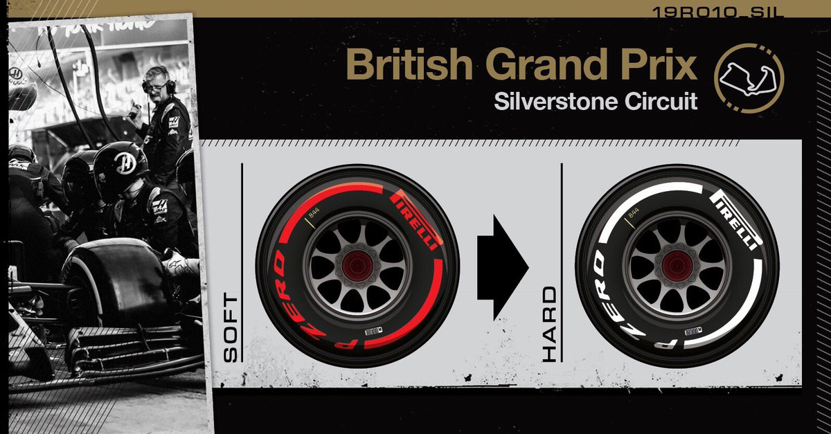 Lap 2/52: Both cars switching from the red softs onto white hard tires.   Rejoin: 19th GRO, 20th MAG  #HaasF1 #BritishGP