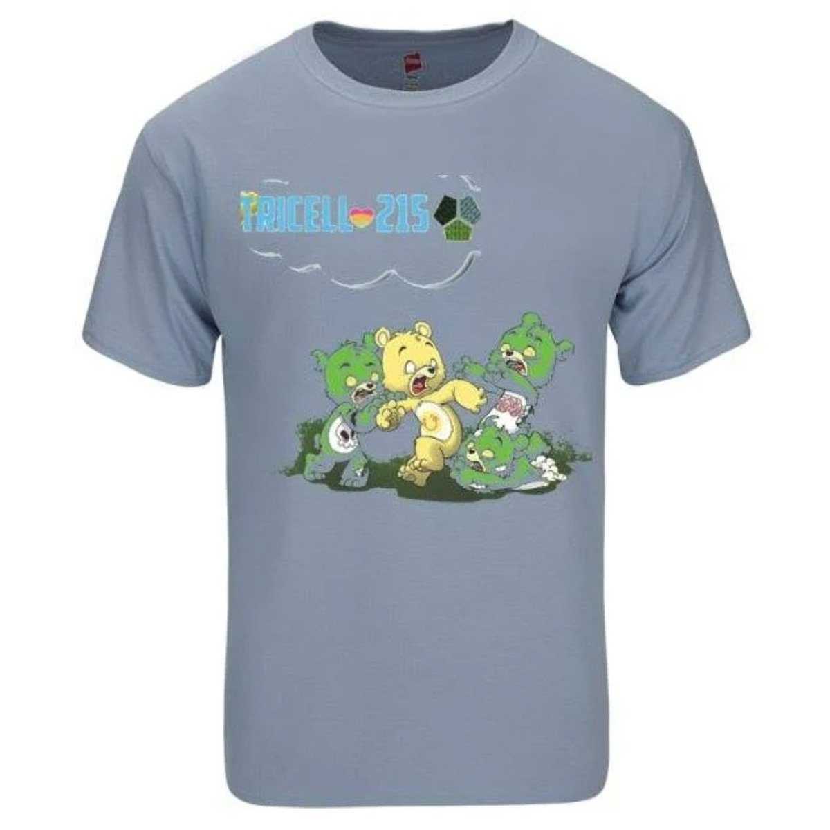 """$20.00 TRICELL 215- SCARE BEAR """" FITTED SHORT SLEEVE CREW SHIRT  ONE OF A KIND , Heat Pressed laser transfered   ALL SIZES...SMALL, LARGE, MEDIUM,LARGE, EXTRA LARGE , 2X , 3 X  Order yours here: http://tricell215.bigcartel.com/  #tricell215  #carebear #zombie  #215"""