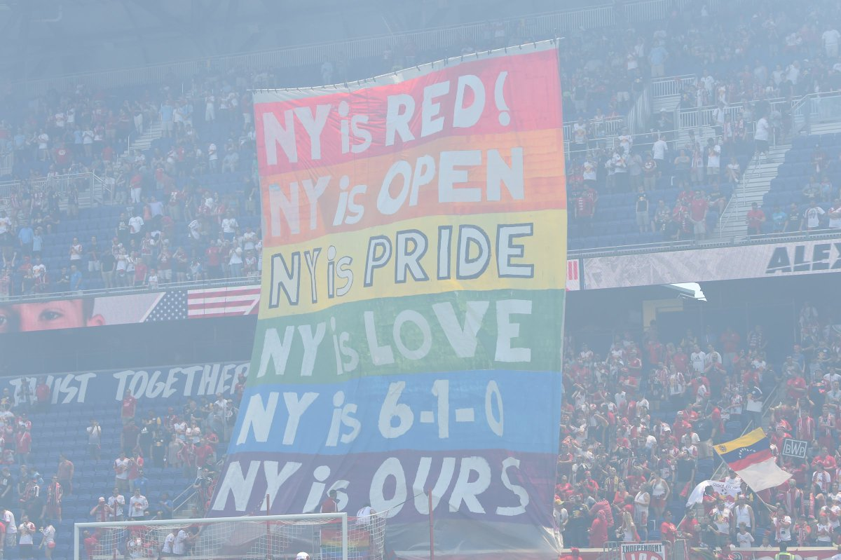 From 2017, this Derby tifo from #RBNY  coincided with Pride month.<br>http://pic.twitter.com/yOwLD5fpsV