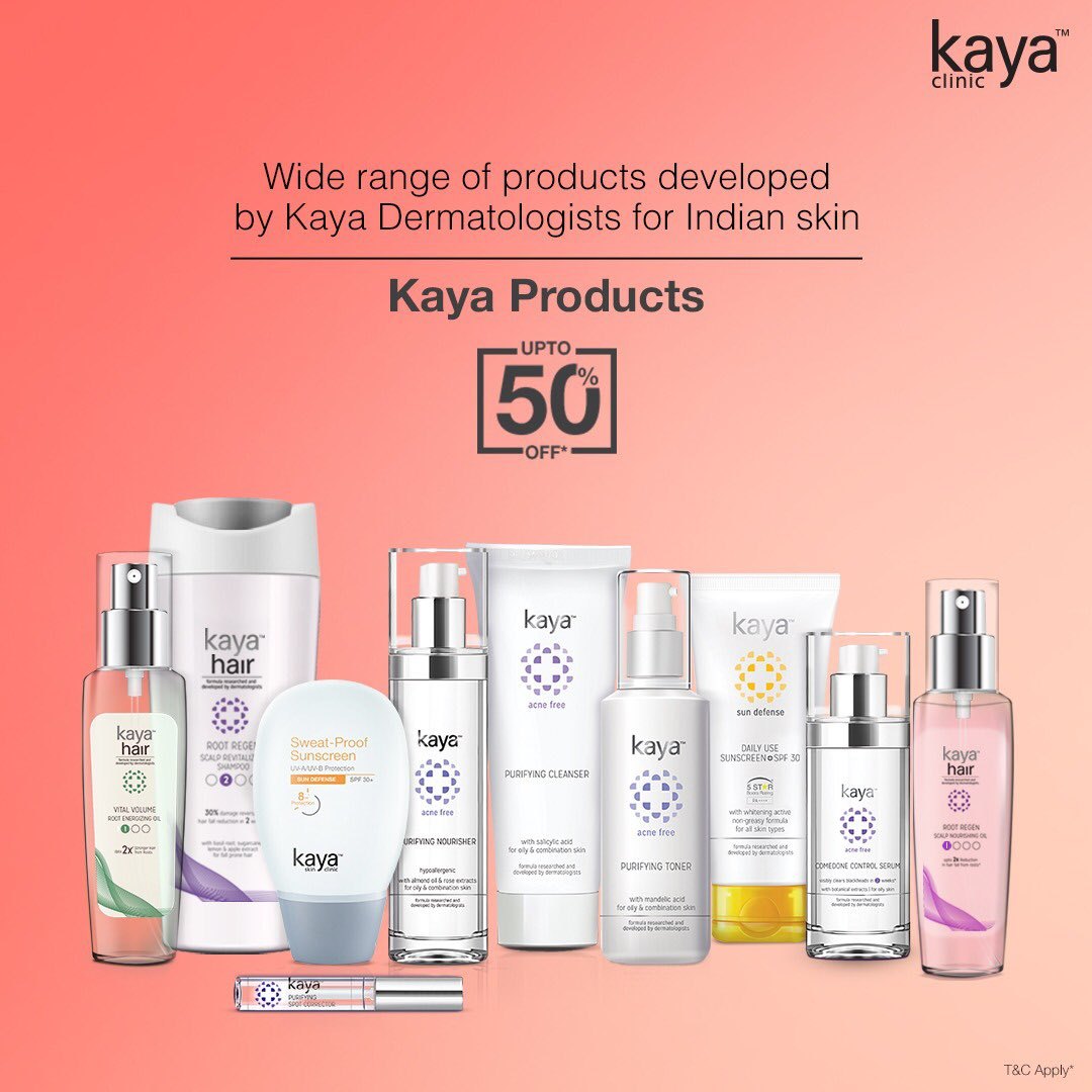 All you need is Kaya's range of skin & hair care products to enhance your look from head to toe! Shop now on Nykaa & get your hands on your favourites:https://t.co/uk9ORLf5SH  Now at upto 50% off! T&C*  #Kaya #KayaClinic #KayaIndia #SkinDoctor #Dermatologists #SkinCare #HairCare https://t.co/UaX5kfAa0D