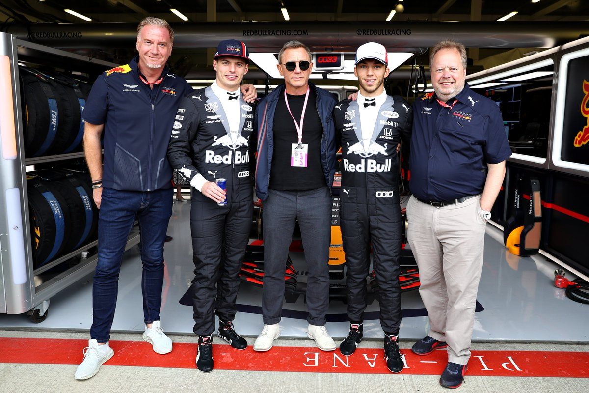 ICYMI: Here's the moment @AndyatAston and @Design_Dr met with Daniel Craig, @Max33Verstappen and @PierreGASLY ahead of the #BritishGP. #F1007