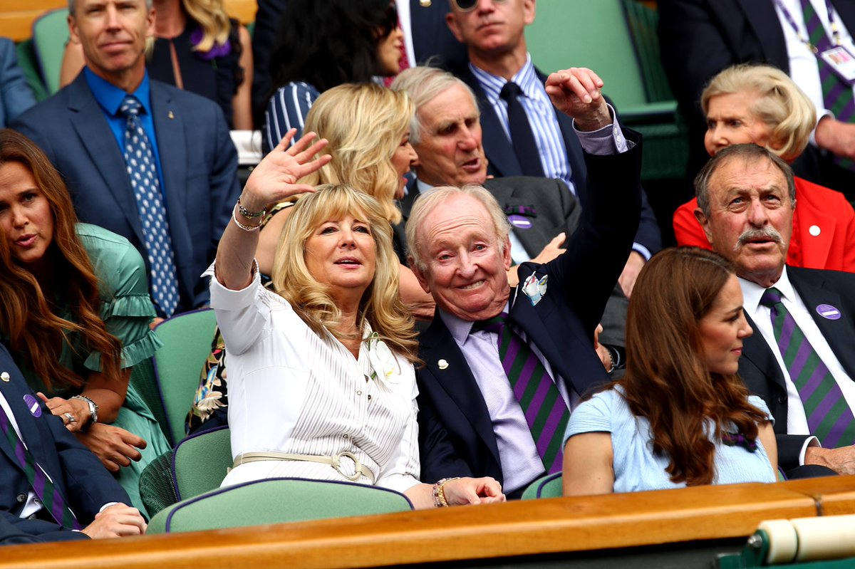 Holding court: @rodlaver at #Wimbledon for today's men's singles final.