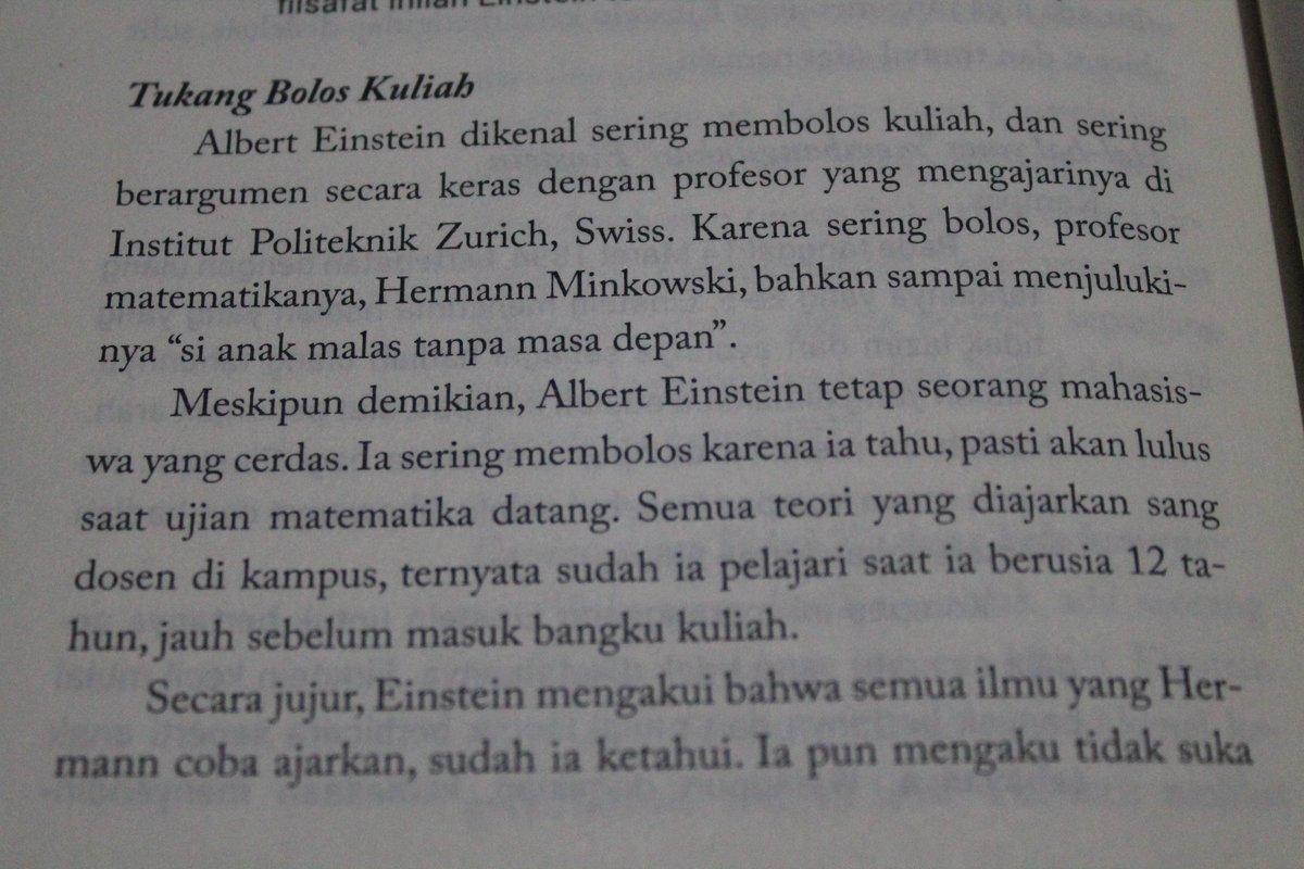 Albert Einstein yang sering bolos kuliah.  #quotesbook  #alberteinsteinquote  #alberteinstein  #samironobook  #bungayobungstore