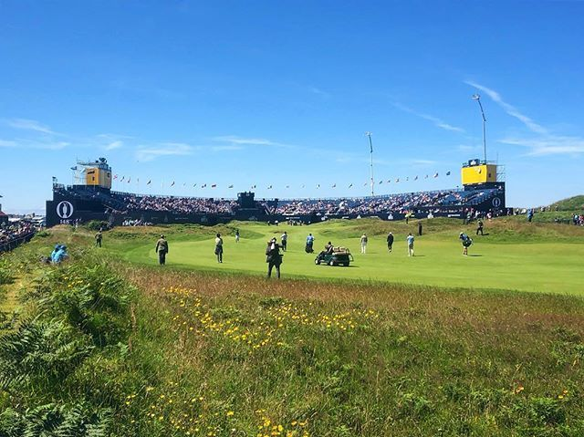 The crowd around our 18th green is gathering with the first practice day now well under way! Great day to get out and watch some golf!! 😃⛳️ #theopen #the148thopen #golf #royalportrush #instagolf #golfstagram #golfing #tigerwoods #golfcourse #tourismn… ift.tt/32sdJ88