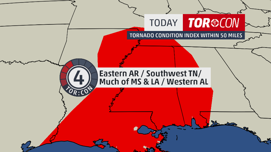 Already seeing tornado warnings pop up this a.m., one with potential on the ground damage. Tor:con of 4 in place for today as #TropicalStormBarry marches north. Have a way to get alerts if possible, many people without power in this danger zone unfortunately, stay weather aware! <br>http://pic.twitter.com/4KNaUHBWWg