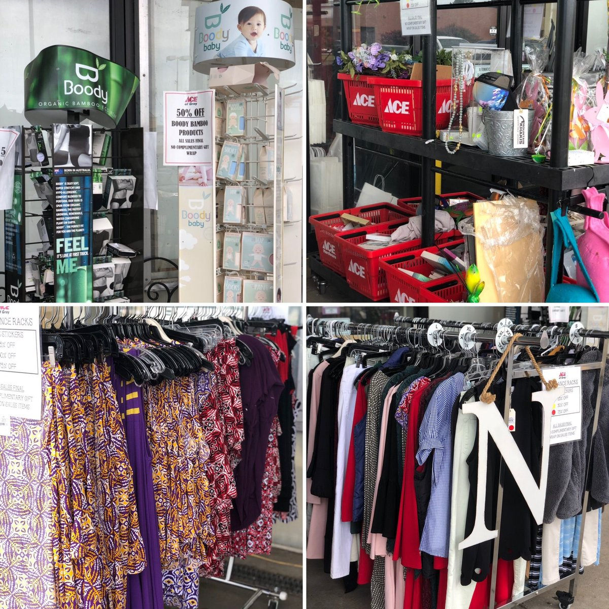 Stop by today and shop our #SidewalkSale Clearance Racks! We have a lot of great items added daily to these racks! All items are 25%, 50%, or 75% Off! #ShopAceofGray #Sales #Clearance #AddedDaily #AceStyles #Summer #Winter #Everyseason #AllSalesFinal