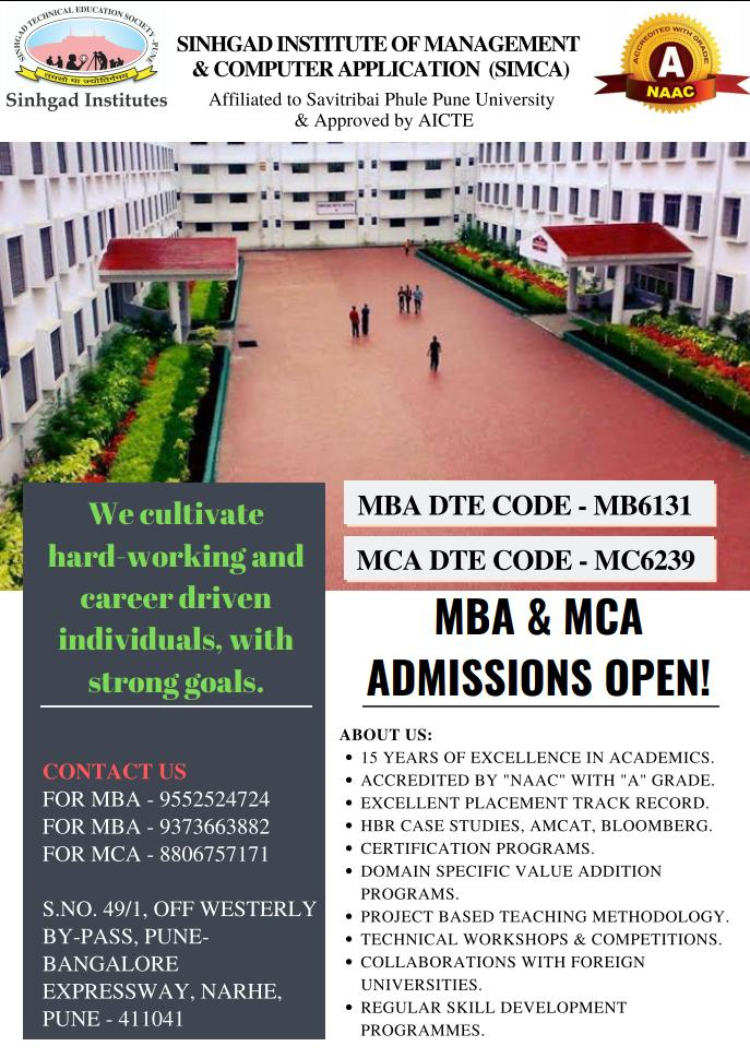 RT @SimcaPune: ADMISSIONS OPEN For MBA & MCA BATCH 2019  #TeamSIMCA #Pune #ManagementInstitute #AdmissionOpen #MCA https://t.co/CLpdiBGyZ3