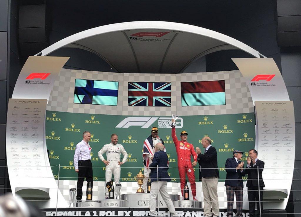 4th podium in a row for #Charles16 👏🏻👏🏻👏🏻 #BritishGP #essereFerrari 🔴