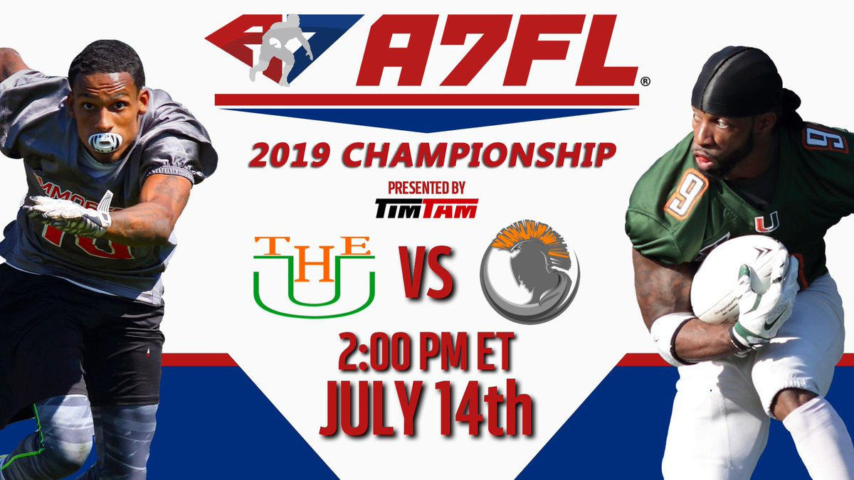 Check out the 2019 A7FL Championship Presented by TimTam! Watch LIVE today on #Twitch @ 2PM ET 💪🏽💥🏈