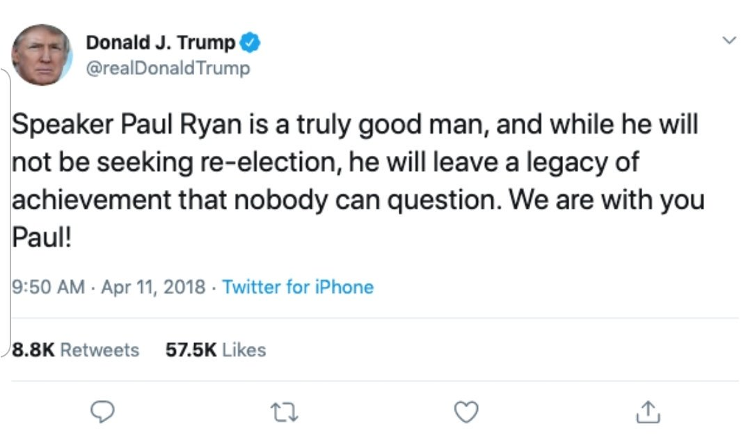 """Dude, make up your mind or do you not remember this tweet of YOURS? What happened to, """"nobody can question."""" #PaulRyan #WithYouForAMinute"""